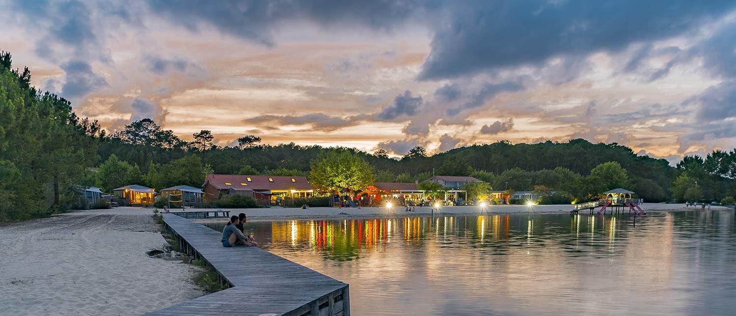 camping avec vue sur le lac de biscarrosse