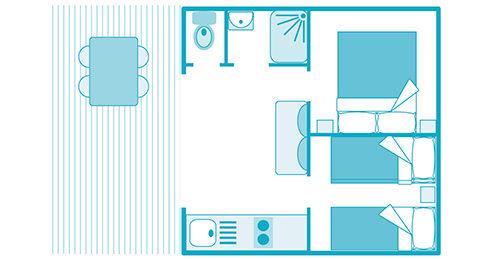 plan du mobil-home canella a biscarrosse