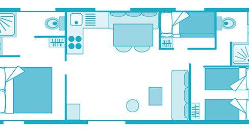 plan du mobil-home tiaré Marina 6 personnes landes